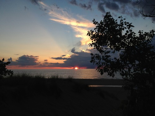 Sunset over lake Michigan the night before I left..