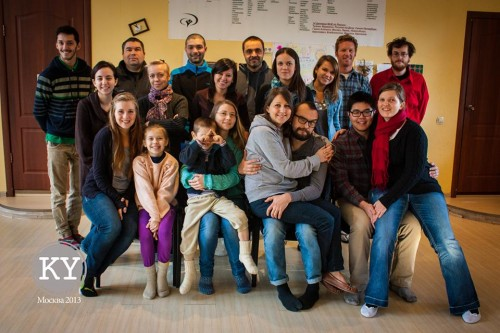 Moscow Discipleship Training School and our team (right)