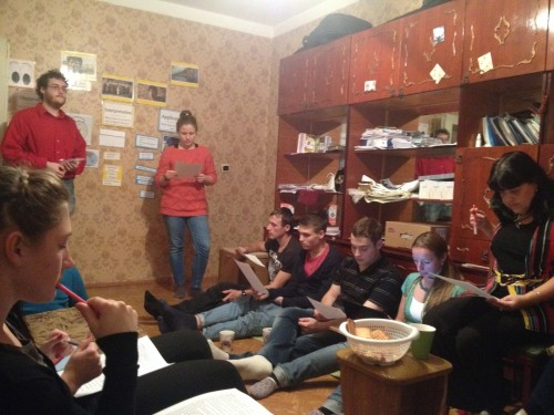 Josh leading last night's Bible study with Inna, our translator on the right.