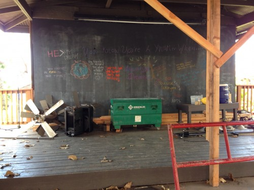The old chalk board on the stage.